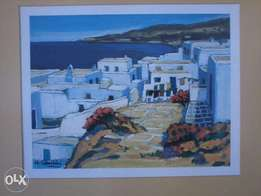 Large Glass Framed ART: Mykonos by JC Quilini 85cmx74cm