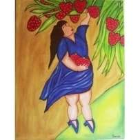 Strawberry harvest painting - 71 x 56 cm