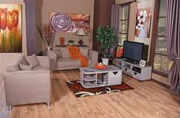 Table + 2 Couches + carpet + Tv stand (5 Piece Diamond Package) Deal