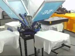 New 4 station screen printing machines for T-shirt branding