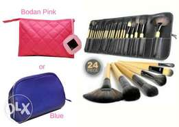 24- Piece Make Up Brush Set with Make Up Purse