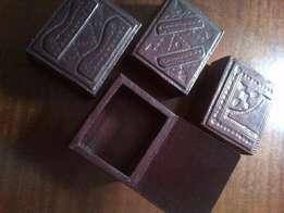 Genuine leather jewellery/trinket boxes