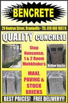 Concrete walling, concrete palisade fencing and concrete bricks