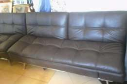 3 Seater polyurethane Button Sofa Bed in Brown
