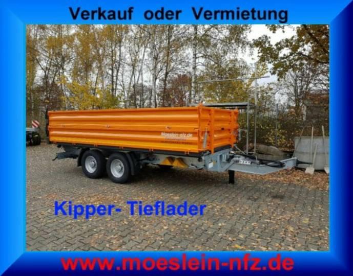 Möslein TTD11- BA Orange Tandem Kipper Tiefladermit Bord - 2019