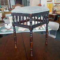 Very pretty antique spindle stool, sturdy, some repairs