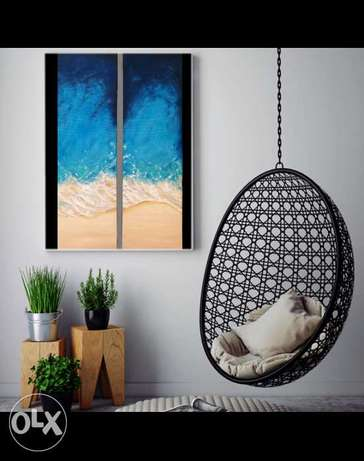 Sea wave Dyptich by oil 60*100 cm