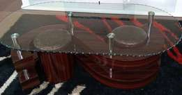 Two Puffed Seat Coffee Table-Tampered Glass-Oval Shaped