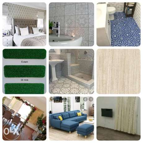 Wood flooring parkia,, Office tiles carpet,, sofa,,wallpaper,, grass c