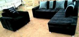 Black and grey sofa set L seater plus 1 with 6 soft pillows