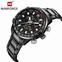 NAVIFORCE Black White Men Waterproof Stainless Steel