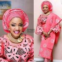 Affordable pearled and stoned aso oke