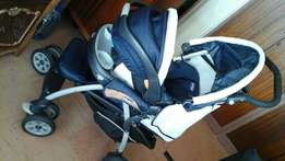 Chicco pram with car seat and winter cocoon