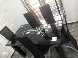 Six sitter Black Dining Table and Leather chairs