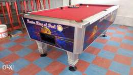 Imported Pool Tables with flexible machines, marple tops and a counter