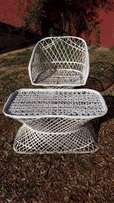 White Plastic Wicker Chair & Stool J 1241