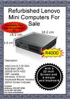 Refurbished Lenovo Mini PCs with 22inch screen and mouse/keyboard