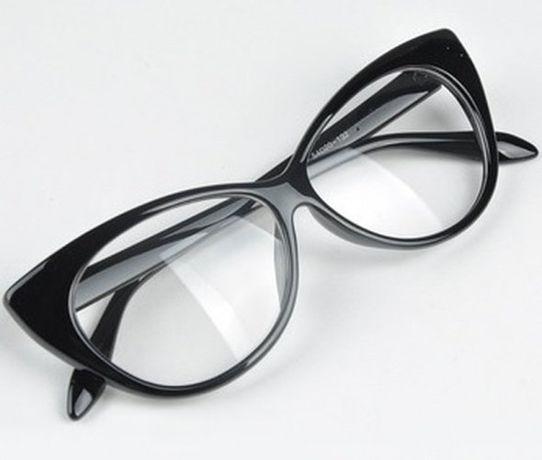 c530680cc645 Okulary Transparentne Zerowki Czarne Oprawki Kocie Cat Eye Doda