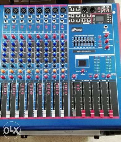 mixer leem 8 input mic+8 line+usb play+effect(new not used)