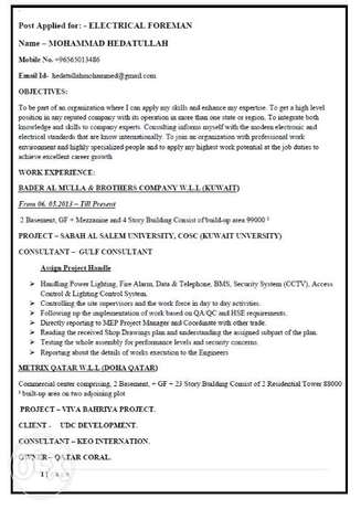 Looking Job for Electrical Foreman