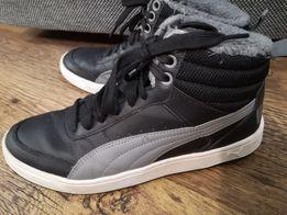 Puma ocieplane wysokie czarne kóra buty zimowe 38,5 Mszana
