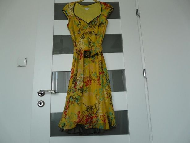 53f91e4358 Sukienka Solar żółta w kwiaty bawełna M Kraków Bieżanów-Prokocim ...