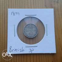 Excellent 1899 British silver Victorian threepence