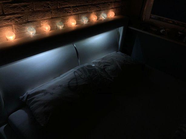 łózko Do Sypialni 180x220 Materac 160x200 Oświetlenie Led