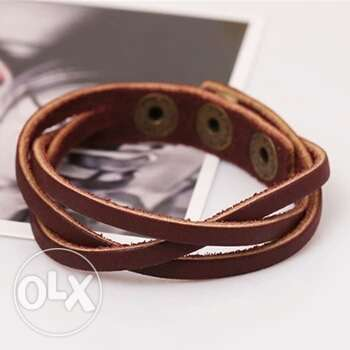 Slim Leather Buckle Bracelet Men fashion Bangles Ojo - image 3