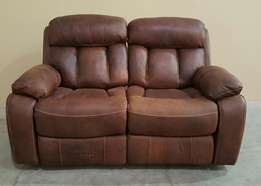 Classy 2Div Full Leather couch with 2 Action Recliners