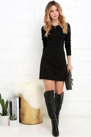 7cdfa9145906 Базовое приталенное прямое черное платье с длинным рукавом от h&m ...