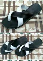 Black and white palm slippers