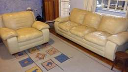 2 piece Leather Lounge Suite for sale