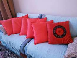 6 beautiful orange pillows for sale