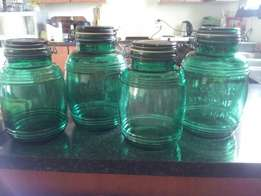 Antique green glass bottles