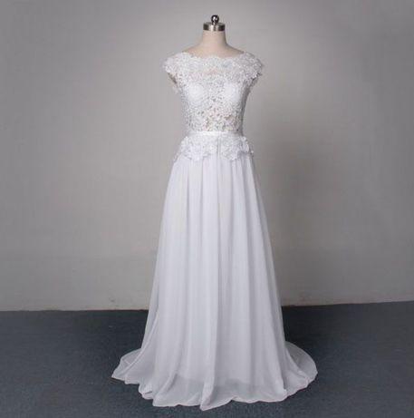 4a8aceb4ebe279 Suknia ślubna sukienka linia-a koronka 34 XS 36 S 38 M 40 L 42 44 46 ...