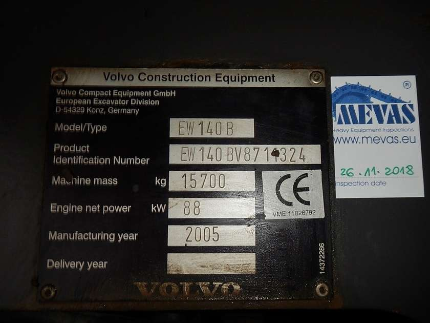 Volvo EW140B - 2005 for sale | Tradus