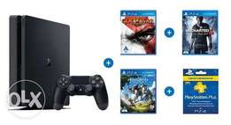 Playstation 4 slim 500GB bundle of 3 games and psn membership 3months