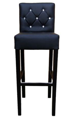Czarny Hoker Pikowany Kryształkami Krzesło Barowe