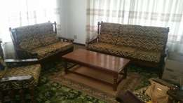 Imbuia 7 seater lounge suite with coffee table