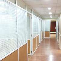 Aluminium framed partitioning, Glass/Gypsum/MDF Boards/block boards