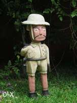 For Sale Safari Pit Helmet Man Fully Armed Wooden Handicraft !