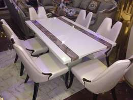 Executive marble dinining by six with six chairs