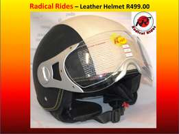 Open Faced Retro Leather Helmet. EEC approved