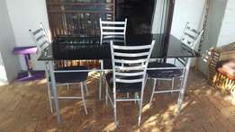 Tempered Glass Table with 4 chairs