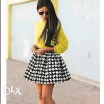 simple black and white skater skirt