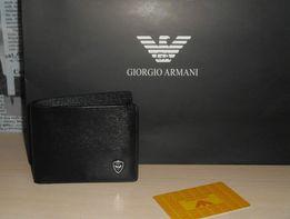 6f75668cca271 Оryginalny czarny PORTFEL MĘSKI Armani, skóra, Włochy 9988