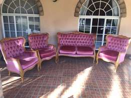 Victorian style Yellowwood - 3 x single and 1 x double seater lounge –