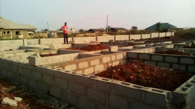 A plot of land with a new foundation at igbogbo ikorodu Lagos Ikeja - image 1