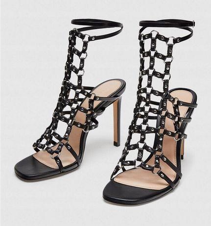 35cb4ee9c026a2 ZARA CZARNE nowe skórzane sandały 41 SZPILKI 349zł Chełmno - image 1